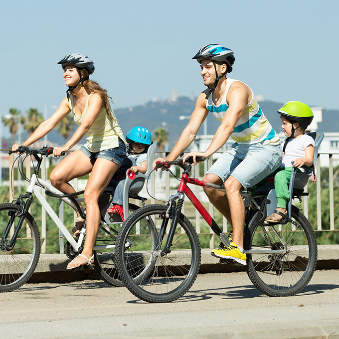 Young couple bike riding